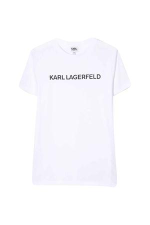 T-shirt bianca con logo frontale Karl Lagerfeld kids Karl lagerfeld kids | 8 | Z2521910B