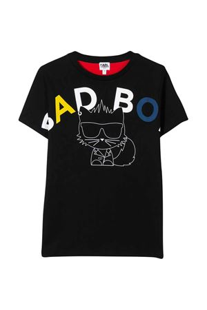 Black teen t-shirt with multicolor press Karl Lagerfeld kids Karl lagerfeld kids   8   Z2522509BT