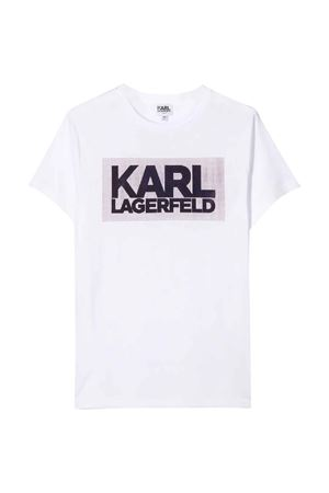 T-shirt bianca con stampa frontale Karl Lagerfeld kids Karl lagerfeld kids | 8 | Z2522710B