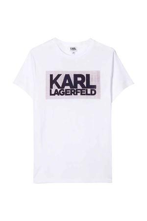T-shirt bianca teen con stampa frontale logo Karl Lagerfeld kids Karl lagerfeld kids | 8 | Z2522710BT