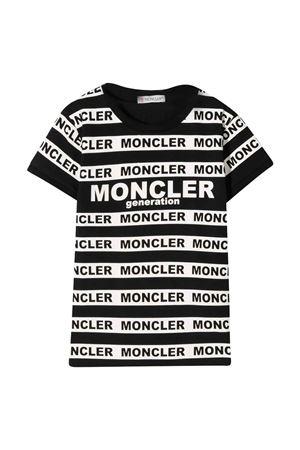T-shirt nera e bianca teen con strisce Moncler kids Moncler Kids   8   8C708108790A999T