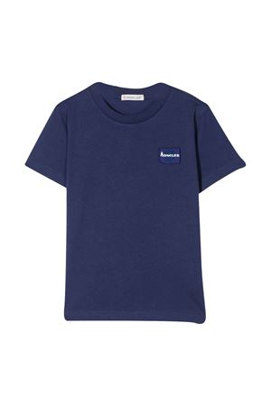 T-shirt blu con applicazione frontale Moncler kids Moncler Kids   8   8C7182083907749
