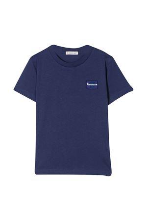 T-shirt blu teen con applicazione frontale Moncler kids Moncler Kids   8   8C7182083907749T