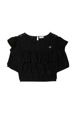Black teen top with ruches Monnalisa kids Monnalisa kids | 40 | 17530159080050T