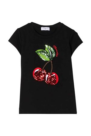 Black t-shirt with frontal application Monnalisa kids Monnalisa kids | 8 | 195632RD50000050