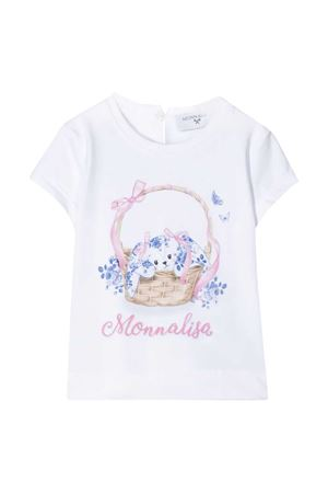 White t-shirt with multicolor press Monnalisa kids Monnalisa kids | 8 | 315601S152010099