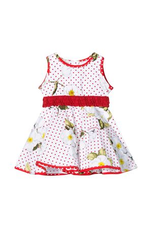 White dress with red details and multicolor press Monnalisa kids Monnalisa kids | 11 | 31592056319944