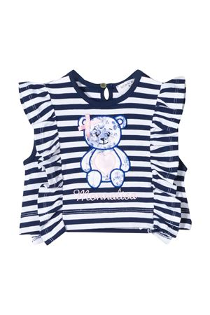 White and blue stripes t-shirt with ruches and application Monnalisa kids Monnalisa kids | 8 | 395612R650029956