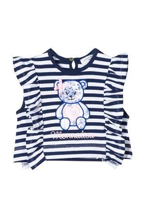 T-shirt a righe bianche e blu con ruches e applicazione Monnalisa kids Monnalisa kids | 8 | 395612R650029956