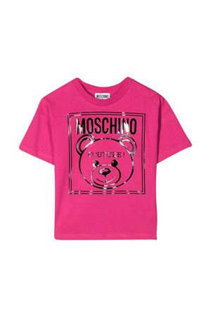 Fuchsia t-shirt with logo press Moschino kids MOSCHINO KIDS | 8 | HOM02PLAA0150844