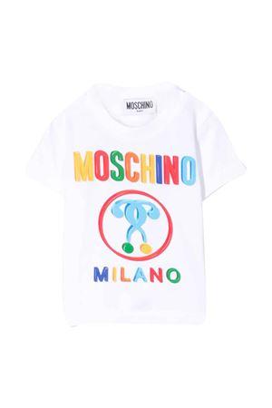 T-shirt bianca con stampa multicolor Moschino kids MOSCHINO KIDS | 8 | M7M021LBA0010101