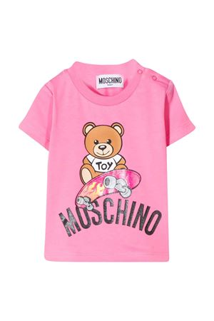 Pink t-shirt with multicolor press Moschino kids MOSCHINO KIDS | 8 | MUM02ALBA1051470