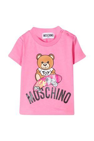 T-shirt rosa con stampa multicolor Moschino kids MOSCHINO KIDS | 8 | MUM02ALBA1051470