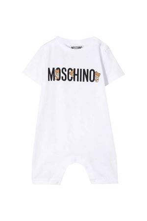 Pagliaccetto bianco con logo frontale Moschino kids MOSCHINO KIDS | -1617276553 | MUT01ILAA0810101