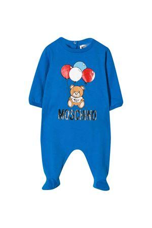 Blue romper with central press Moschino kids MOSCHINO KIDS   1491434083   MUT01JLBA0040624