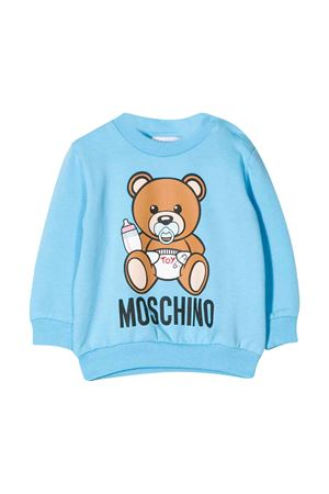 Light blue sweatshirt with Toy press Moschino kids MOSCHINO KIDS | -108764232 | MXF02PLDA0040507