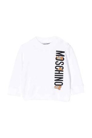 Felpa bianca con stampa logo Moschino kids MOSCHINO KIDS | -108764232 | MYF02PLDA0010101