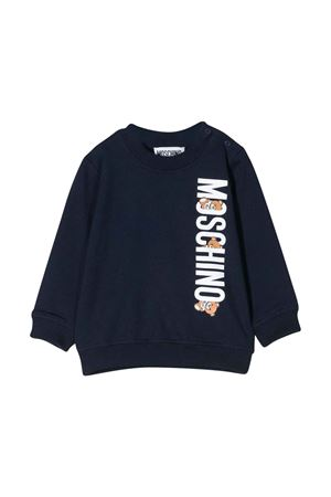 Felpa blu con stampa bianca Moschino kids MOSCHINO KIDS | -108764232 | MYF02PLDA0040016
