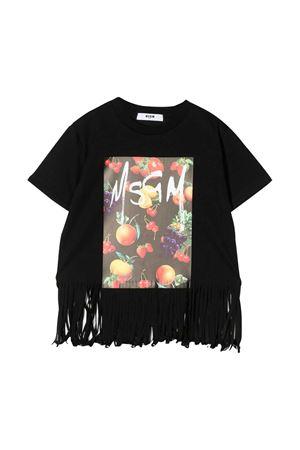 T-shirt nera con frange e stampa multicolor Msgm kids MSGM KIDS | 8 | 022052110