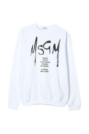 Felpa bianca teen con logo MSGM kids MSGM KIDS | -108764232 | 022082001T