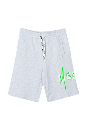 Grey bermuda shorts with green logo Msgm Kids MSGM KIDS | 5 | 022089101