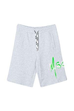 Grey teen bermuda shorts with green logo Msgm Kids MSGM KIDS | 5 | 022089101T