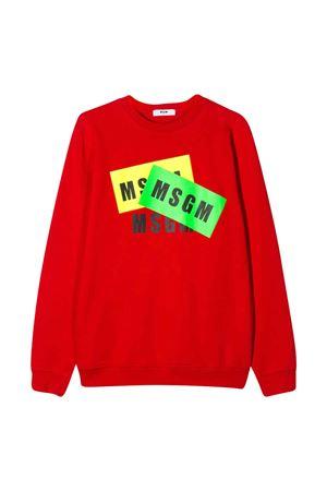 Felpa teen rossa con stampa multicolor Msgm kids MSGM KIDS | -108764232 | 022093040T