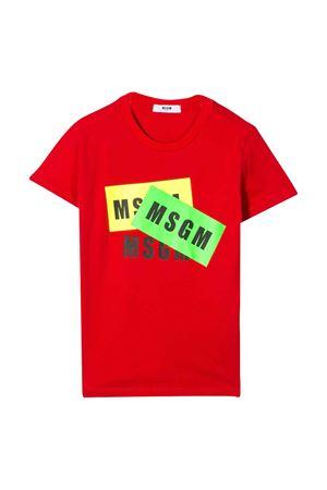 T-shirt rossa con stampa multicolor Msgm Kids MSGM KIDS | 8 | 022094040