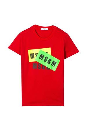 T-shirt teen rossa con stampa multicolor Msgm Kids MSGM KIDS | 8 | 022094040T