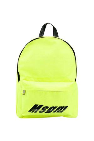 Zaino giallo fluo con ricamo frontale logo MSGM kids MSGM KIDS | 279895521 | 022132023