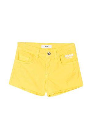 Shorts denim gialli con logo Msgm Kids MSGM KIDS | 30 | 022382020