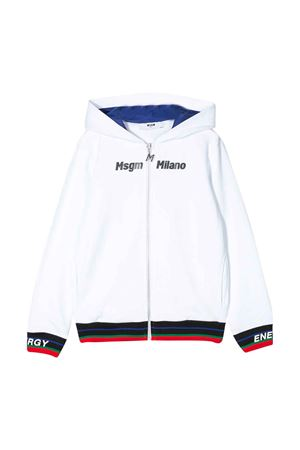 Felpa bianca con cappuccio , zip e stampa multicolor Msgm kids MSGM KIDS | -108764232 | 022423001