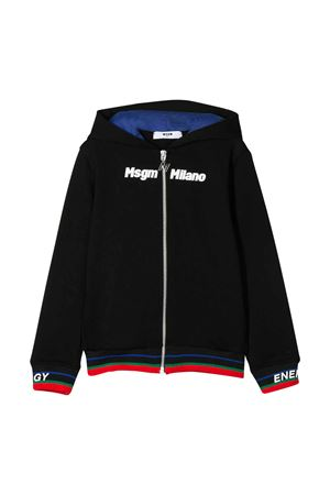 Black sweatshirt with hood , zip and multicolor details MSGM KIDS | -108764232 | 022423110