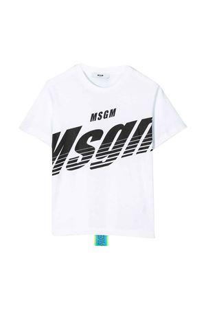T-shirt bianca con stampa nera e applicazione posteriore Msgm kids MSGM KIDS | 8 | 022428001