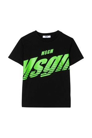 T-shirt nera con stampa verde frontale e applicazione posteriore Msgm kids MSGM KIDS | 8 | 022428110