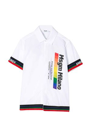White teen shirt with multicolor press Msgm kids MSGM KIDS | 5032334 | 022447001T
