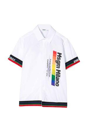 Camicia teen bianca con dettagli multicolor Msgm kids MSGM KIDS | 5032334 | 022447001T