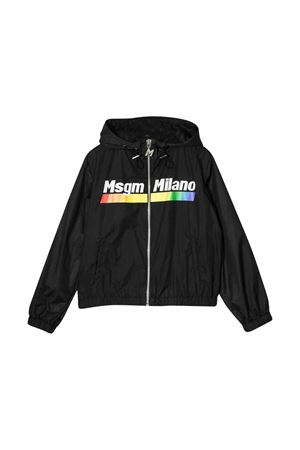 Black teen lightweight jacket with hood ,zip and press Msgm kids MSGM KIDS | 13 | 022448110T