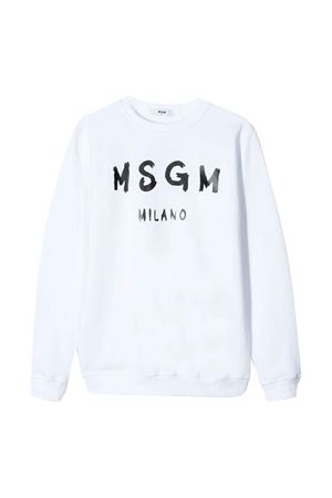 White sweatshirt with logo MSGM kids MSGM KIDS | -108764232 | 022684001