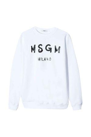 Felpa bianca teen con logo MSGM kids MSGM KIDS | -108764232 | 022684001T