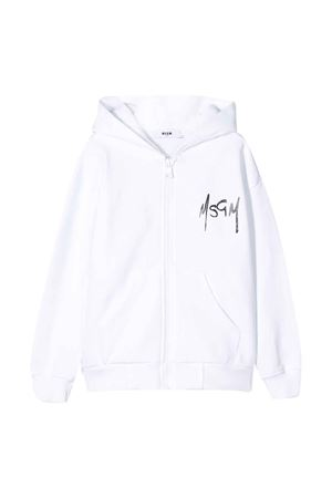 White teen hoodie with logo MSGM kids MSGM KIDS | -108764232 | 022689001T