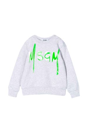 Grey sweatshirt with frontal logo press MSGM kids MSGM KIDS | -108764232 | 023924101