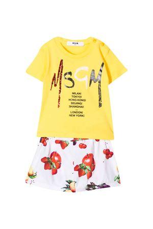 White and yellow baby suit MSGM kids MSGM KIDS | 42 | 023944020/01