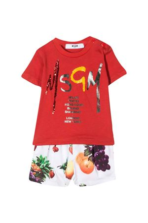 White and red baby suit MSGM kids MSGM KIDS | 42 | 023944040/01