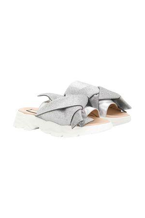 Silver teen slides with glitters N°21 N°21 KIDS   12   63971VAR2T