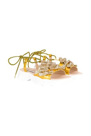 Golden shoes with bow N°21 N°21 KIDS | 12 | 63973VAR1