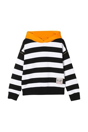White and black teen striped hoodie N°21 N°21 KIDS   -108764232   N21478N00500N900T