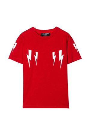 T-shirt teen rossa con stampa bianca Neil Barrett kids NEIL BARRETT KIDS | 8 | 024230040T