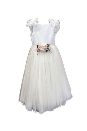 Cream white satin teen dress with applied flower Petit Petit | 11 | 2014384SST588020T