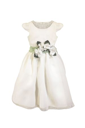 Double organza cream teen dress with green belt with applied flowers Petit Petit | 11 | 2014527T58112032T